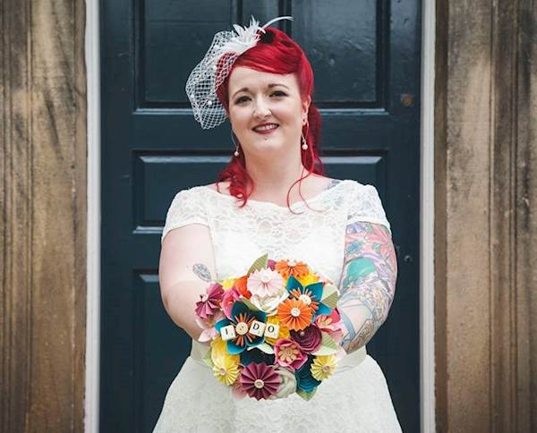 Bride with her alternative bridal bouquet