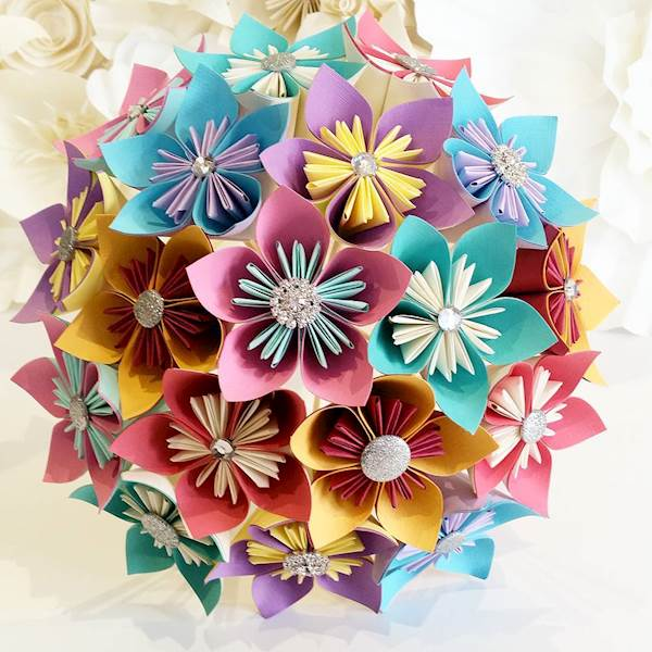Bright, colourful origami paper wedding bouquet