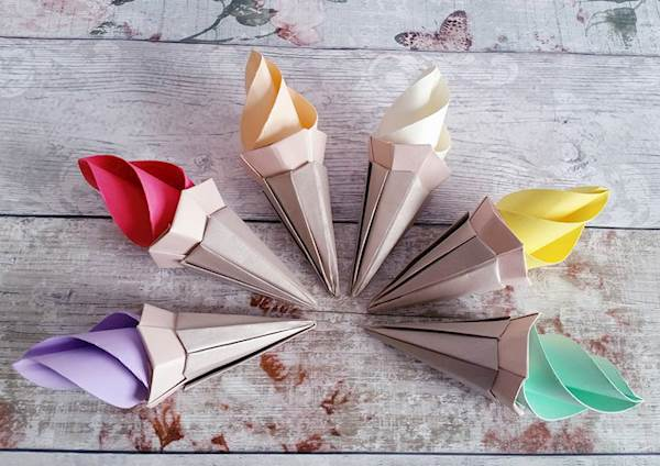 Origami ice cream cones