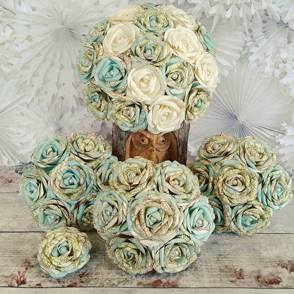 Vintage maps bridal bouquet