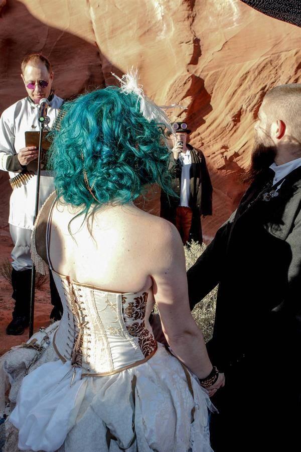 Corset steampunk wedding dress