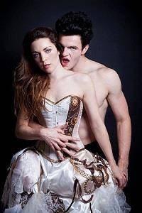 Model in Lyndsey Clark steampunk wedding dress, with vampire behind her