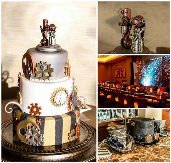 Steampunk wedding cake, cake toppers and venue decorations