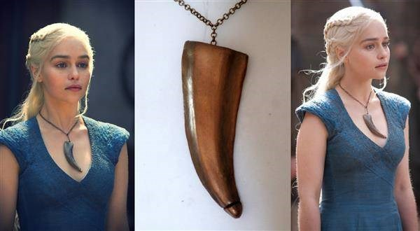 Dragon claw necklace closeup and stills of original being worn in the Game Of Thrones TV series