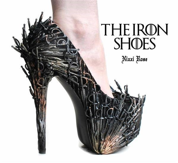 Game Of Thrones handmade Iron Shoes covered in swords