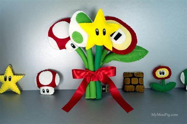 Mario themed alternative bridal bouquet by Moo Pig.