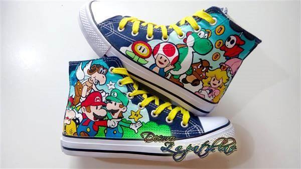 Super Mario Bros custom canvas shoes by Decoro Zapatillas.