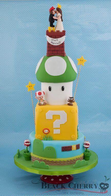 Super Mario wedding cake by Black Cherry Cake Company