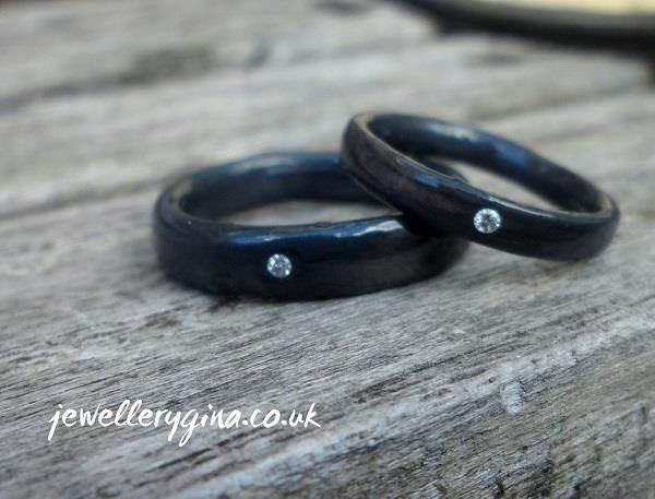 Oxidised black silver diamond, his and hers wedding rings from Jewellery Gina