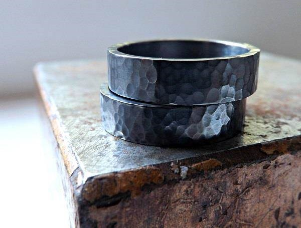 Black silver hammered metal wedding bands by Crazy Ass JD