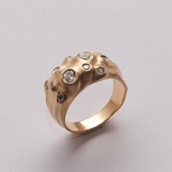 Unusual 14K Gold and diamond moon ring by Doron Merav