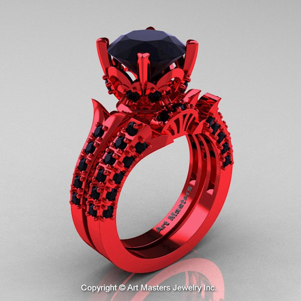 Unusual Red Gold Wedding Ring Set From Art Masters | Misfit Wedding