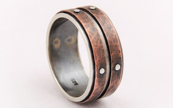 rustic silver and copper designer wedding ring from gilleri misfit wedding - Alternative Wedding Rings
