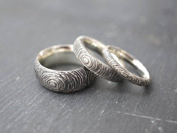 intriguing slate effect silver wedding bands from van buskirk jewellery - Alternative Wedding Rings