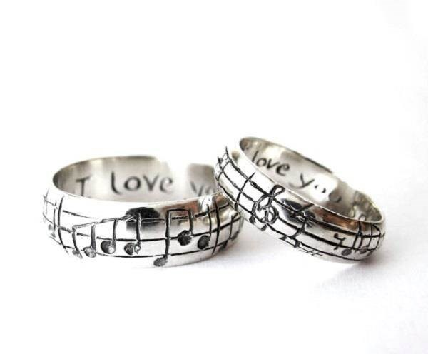 your song engraved on personalised wedding bands by rickson jewellery misfit wedding - Alternative Wedding Rings
