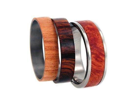 Unusual wooden wedding bands from Jewelry by Johan