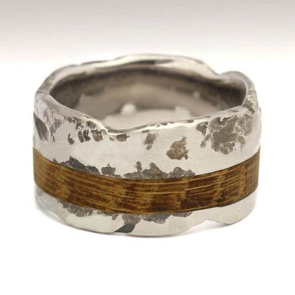 Beautiful textured Titanium wedding ring with wooden inlay by Justin Duance