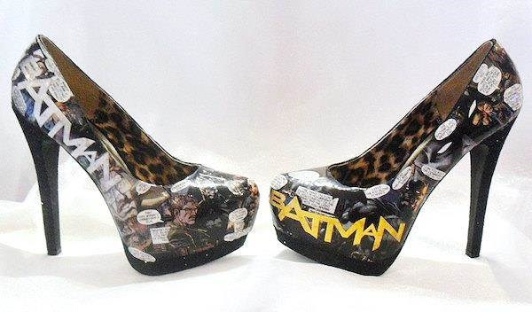 Decoupage shoes featuring scenes from Batman comic books.