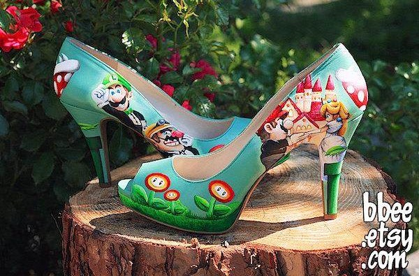 Outdoor shot of high heeled shoes with Super Mario characters painted onto them.