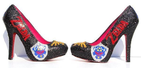 Glittery high heels featuring Zelda logos.