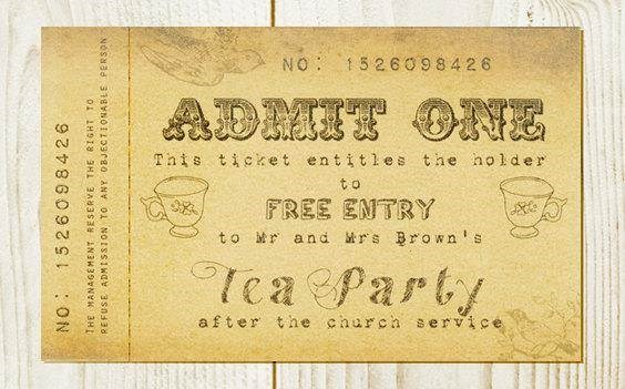 Be Our Guest Designs - Wedding Admission Ticket