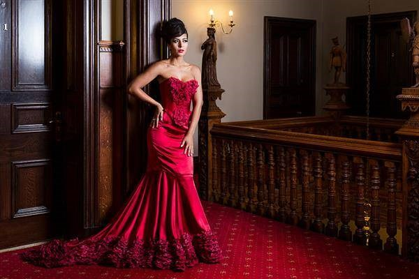 Red mermaid gown by Alissia Couture