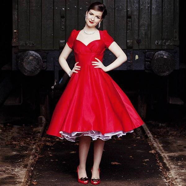 Red 1950s style dress by Dolly Dagger