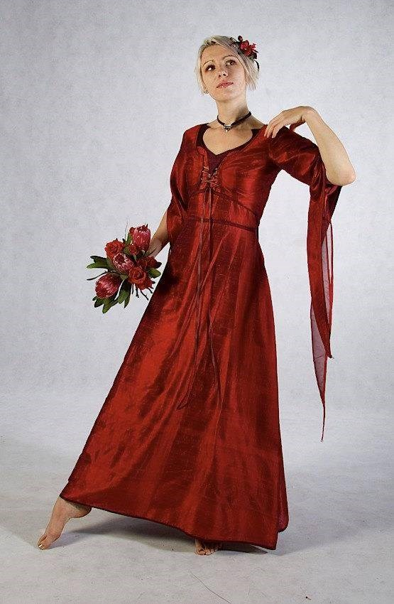 Blood red alternative wedding gown by Zizzyfay