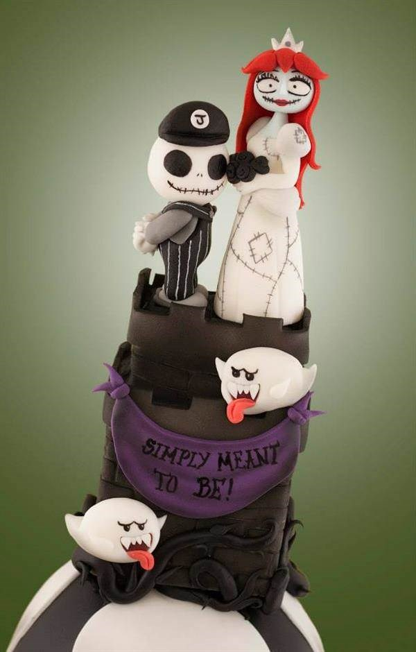 Mario and Peach..... or is it Jack and Sally?! Cake by Black Cherry Cake Company