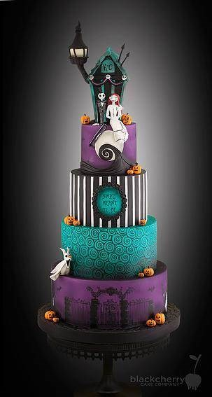 nightmare before christmas wedding cake by black cherry cake company