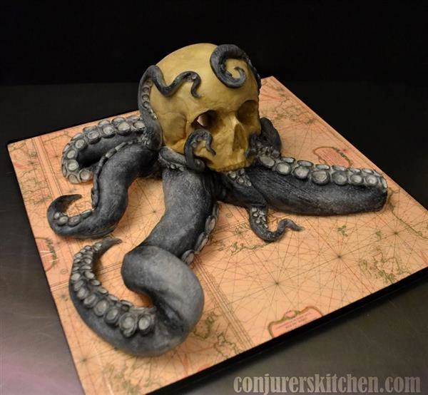 Tentacled Skull cake by Conjurer's Kitchen
