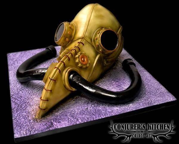 Steampunk Plague Doctor cake by Conjurer's Kitchen