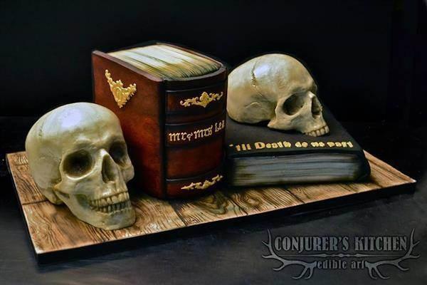 Skulls wedding cake by Conjurer's Kitchen