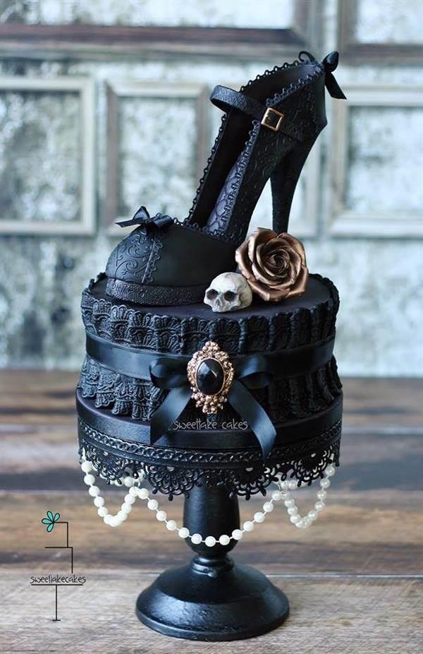 Gothic shoe cake by Sweetlake Cakes