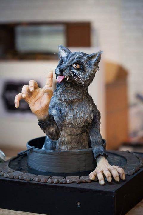 Creepy cat cake by Tattooed Bakers