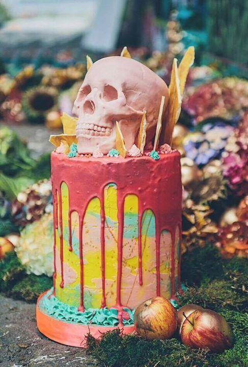 Colourful skull cake from Tattoeed Bakers