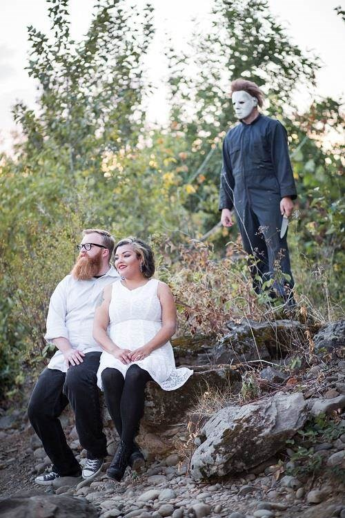 Halloween engagement photo shoot