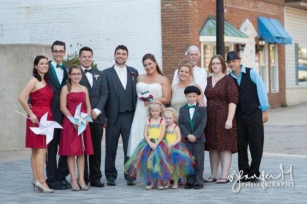 Carnival themed wedding party