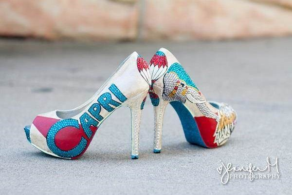 Custom carnival bridal shoes