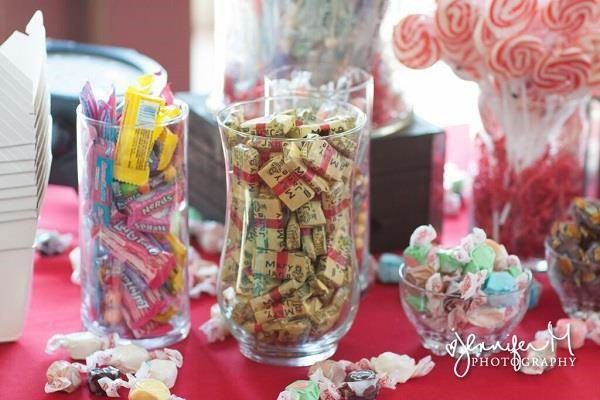 Vintage sweets buffet for a carnival wedding