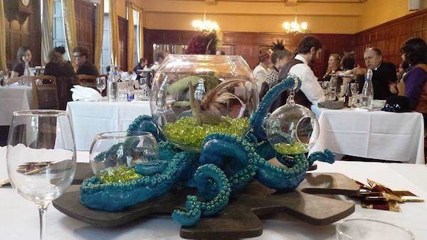 Steampunk wedding tentacle centrepiece