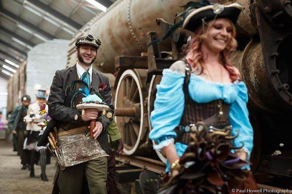 Steampunk wedding guests