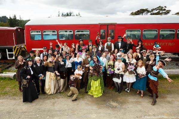Steampunk wedding group photo by Paul Howell