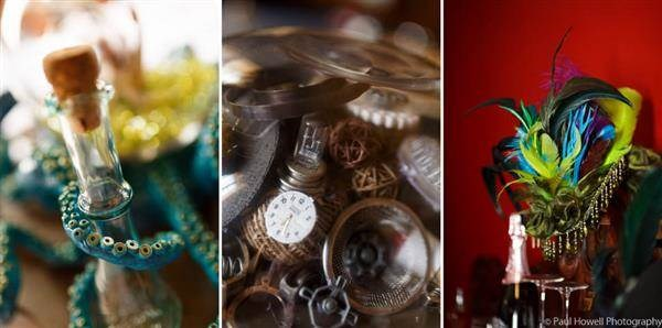 Steampunk wedding decor and accessories