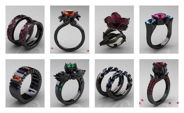 Black Wedding and Engagement Rings From the Dark Side Misfit Wedding