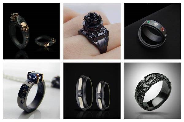 Black wedding rings from Alexander Tyvodar