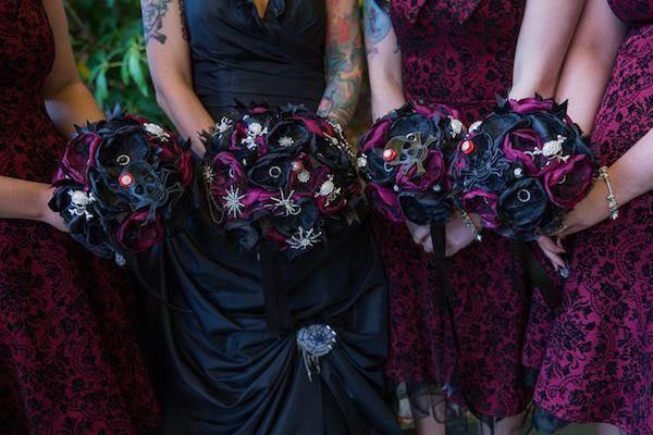 Gothic bride and bridesmaid's wedding bouquets
