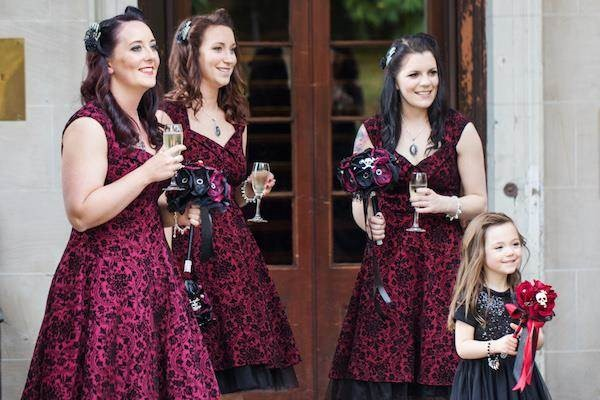 Bridesmaids at a Halloween wedding