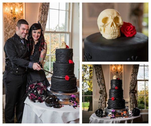 Gothic wedding cake with skull caketopper for a Halloween wedding