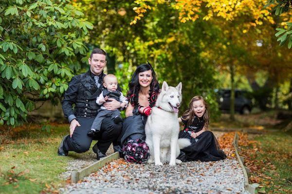 Halloween wedding family portrait
